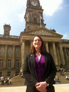 Zoe Kirk-Robinson outside Bolton Town Hall