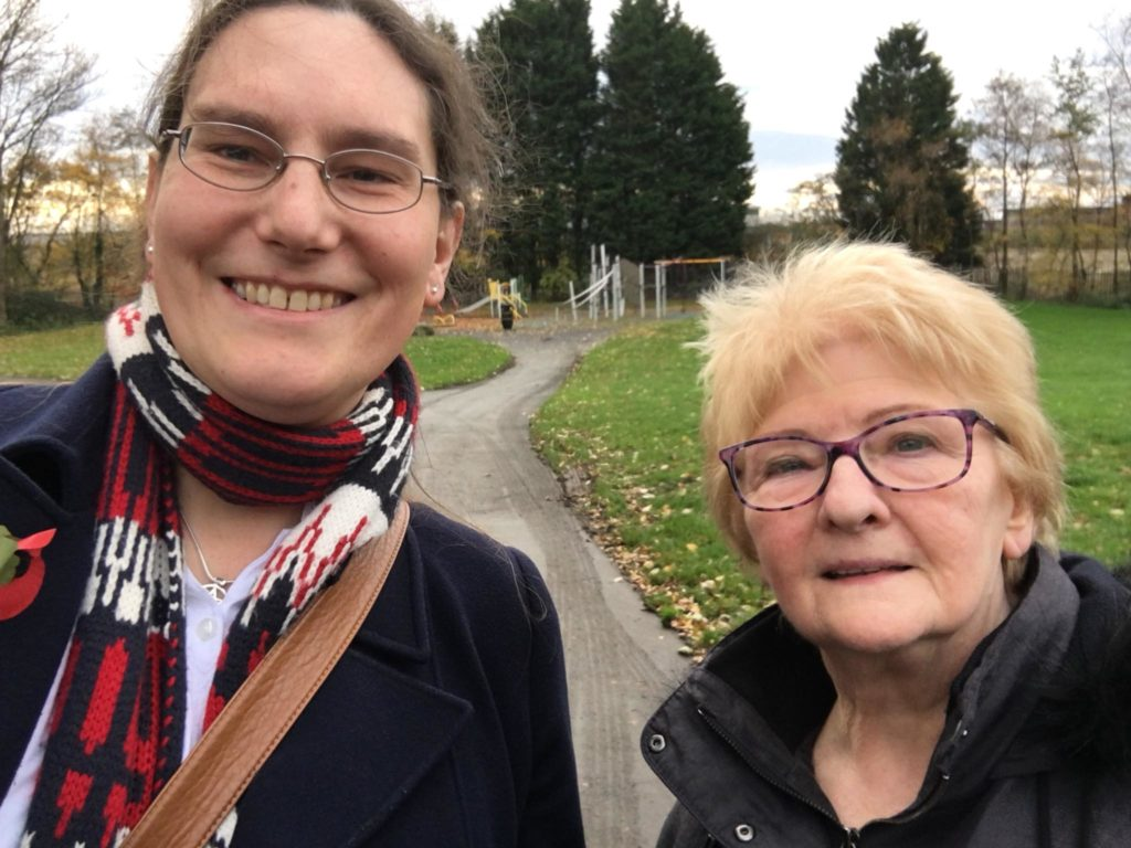 Cllrs Zoë Kirk-Robinson and Christine Wild at Wingates Park.